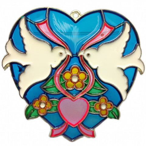 Blue Heart Shaped Sun Catcher with Kissing Lovebirds - ScandinavianGiftOutlet
