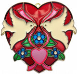 Red Heart Shaped Sun Catcher with Kissing Lovebirds - ScandinavianGiftOutlet
