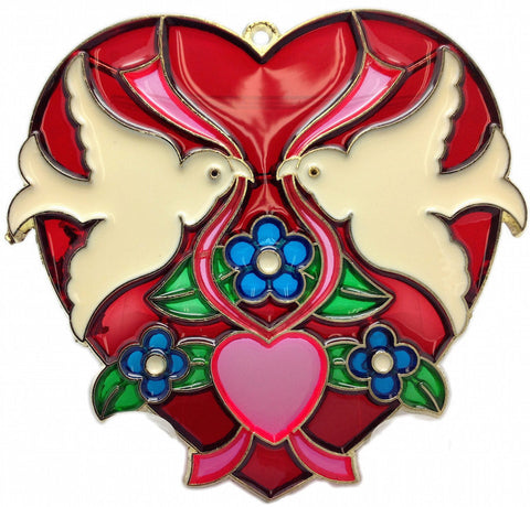 Red Heart Shaped Sun Catcher with Kissing Lovebirds - ScandinavianGiftOutlet  - 1
