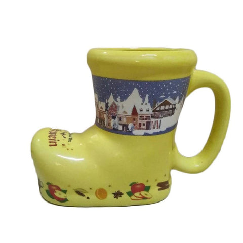 Ceramic Yellow German Gluhwein Boot Mug - ScandinavianGiftOutlet