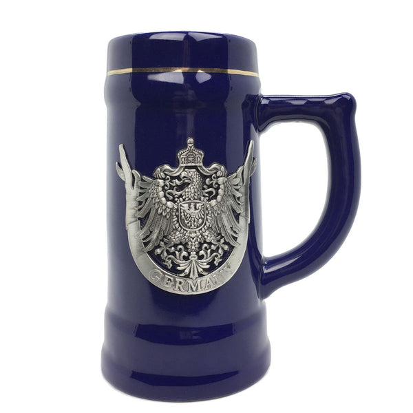 Eagle of Germany .75L Beer Mug Cobalt Blue Medallion Stein - ScandinavianGiftOutlet