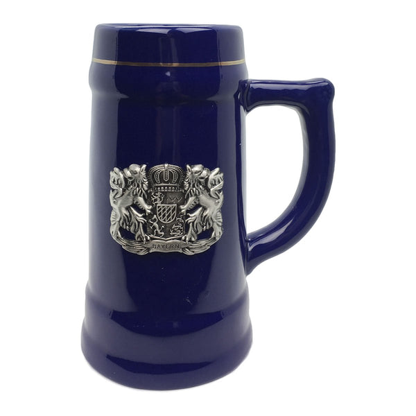 .75L Ceramic Beer Stein Bayern Coat of Arms Medallion - ScandinavianGiftOutlet