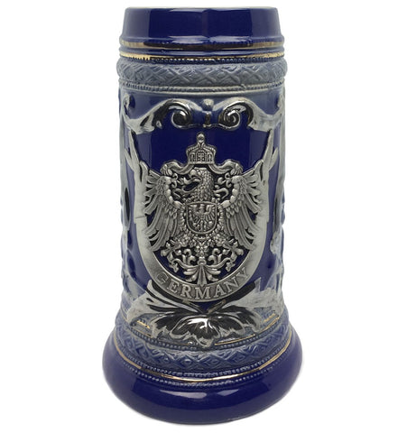 .75L German Eagle Metal Medallion Engraved Ceramic Beer Stein - ScandinavianGiftOutlet
