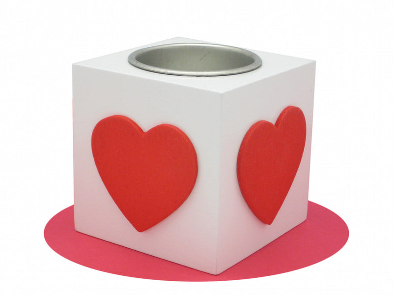 Scandinavian Gift Idea Square Heart Candle Votive White - ScandinavianGiftOutlet