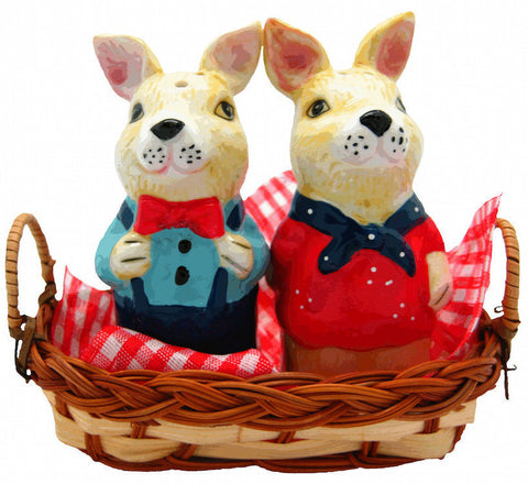Animal Salt and Pepper Shakers Rabbits Basket - ScandinavianGiftOutlet  - 1