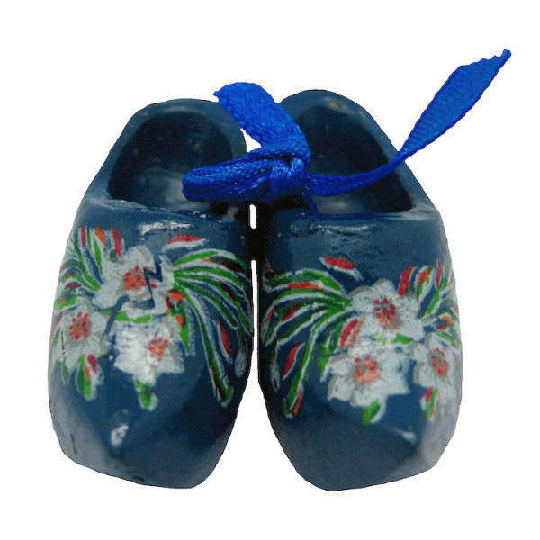 German Wooden Shoes Blue Edelweiss - ScandinavianGiftOutlet