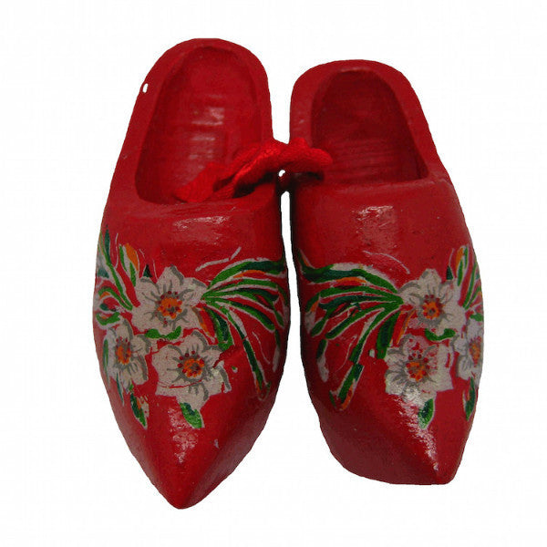German Red Wooden Shoes Edelweiss - ScandinavianGiftOutlet