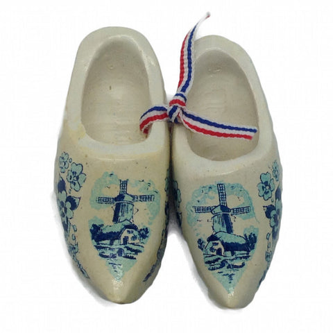Netherlands Wooden Shoes Clogs White - ScandinavianGiftOutlet