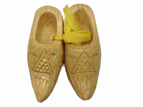 "Scandinavian Carved Wooden Shoes 3.25"" - ScandinavianGiftOutlet"