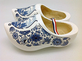 "Decorative Dutch Wooden Shoe Clogs Landscape Design Blue & White Design 4.25"" - ScandinavianGiftOutlet"