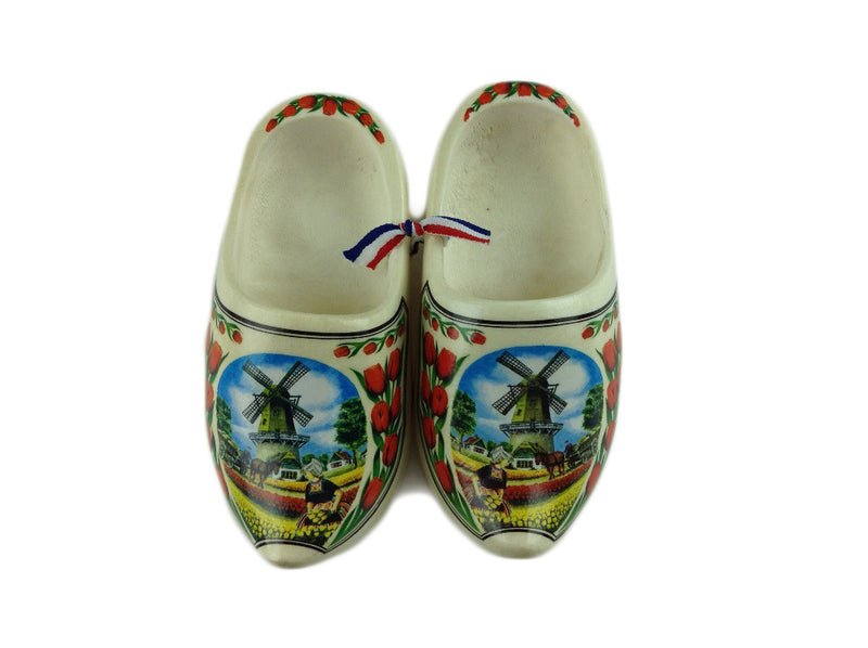 "Decorative Dutch Shoe Clogs w/ Windmill and Tulips Design-4.25"" - ScandinavianGiftOutlet"