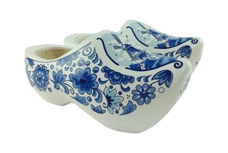 "Decorative Dutch Shoe Clogs w/ Windmill Blue & White Design-7"" - ScandinavianGiftOutlet"