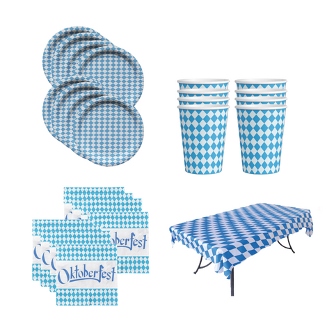 All-in-One Oktoberfest Party Pack Bundle with Bavarian Themed Plastic Deli Tableclothe, Paper Plates, Cups, Napkins, Toothpicks & Banners