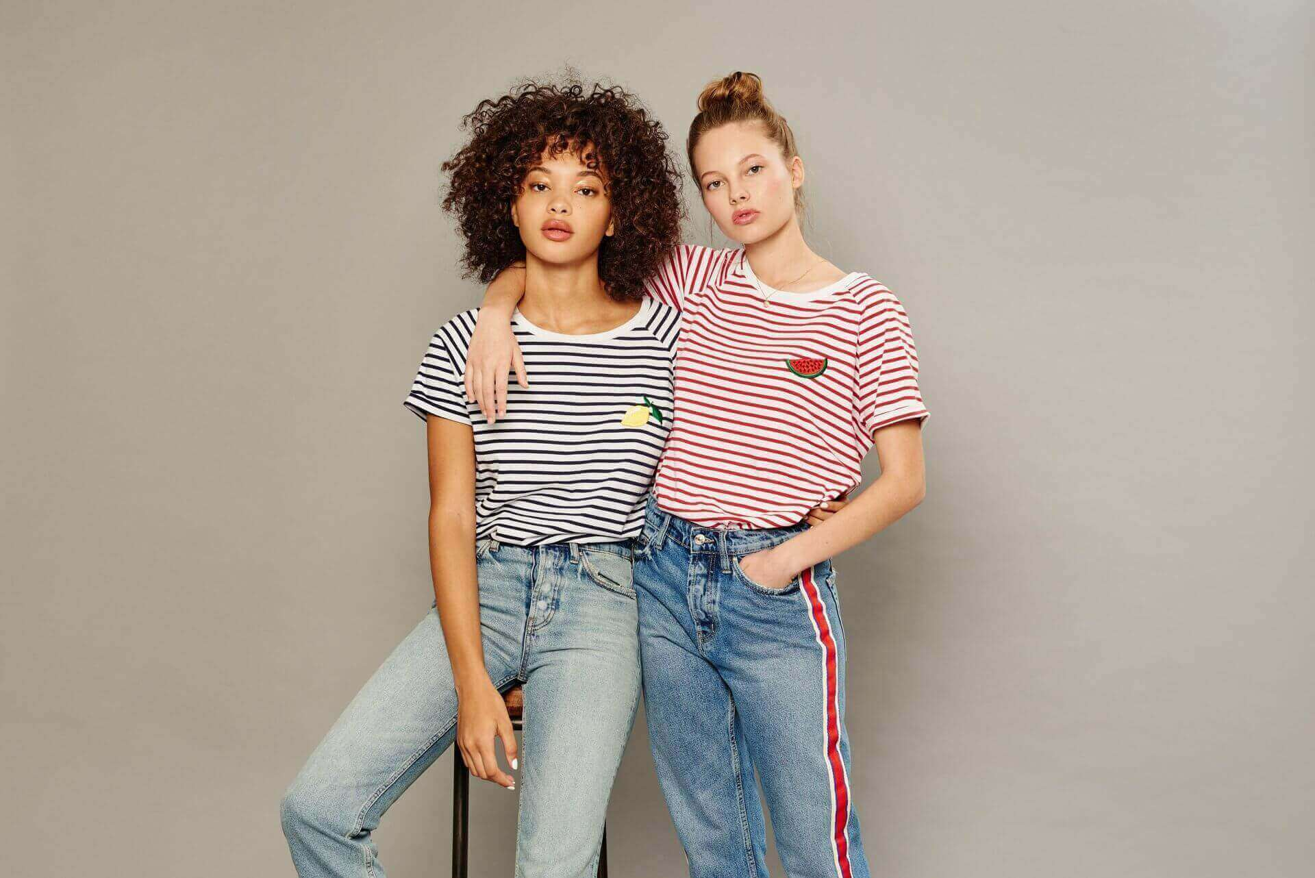 Striped t-shirts with left chest lemon & watermelon patches
