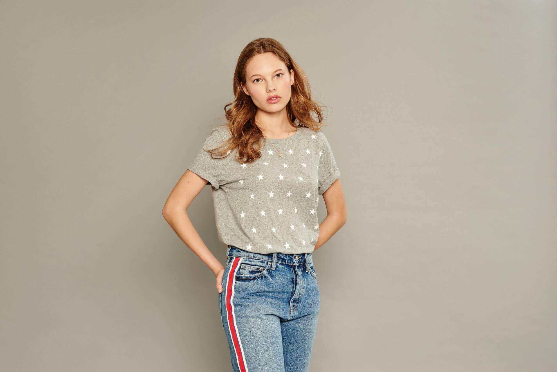 Gray t-shirt with white stars