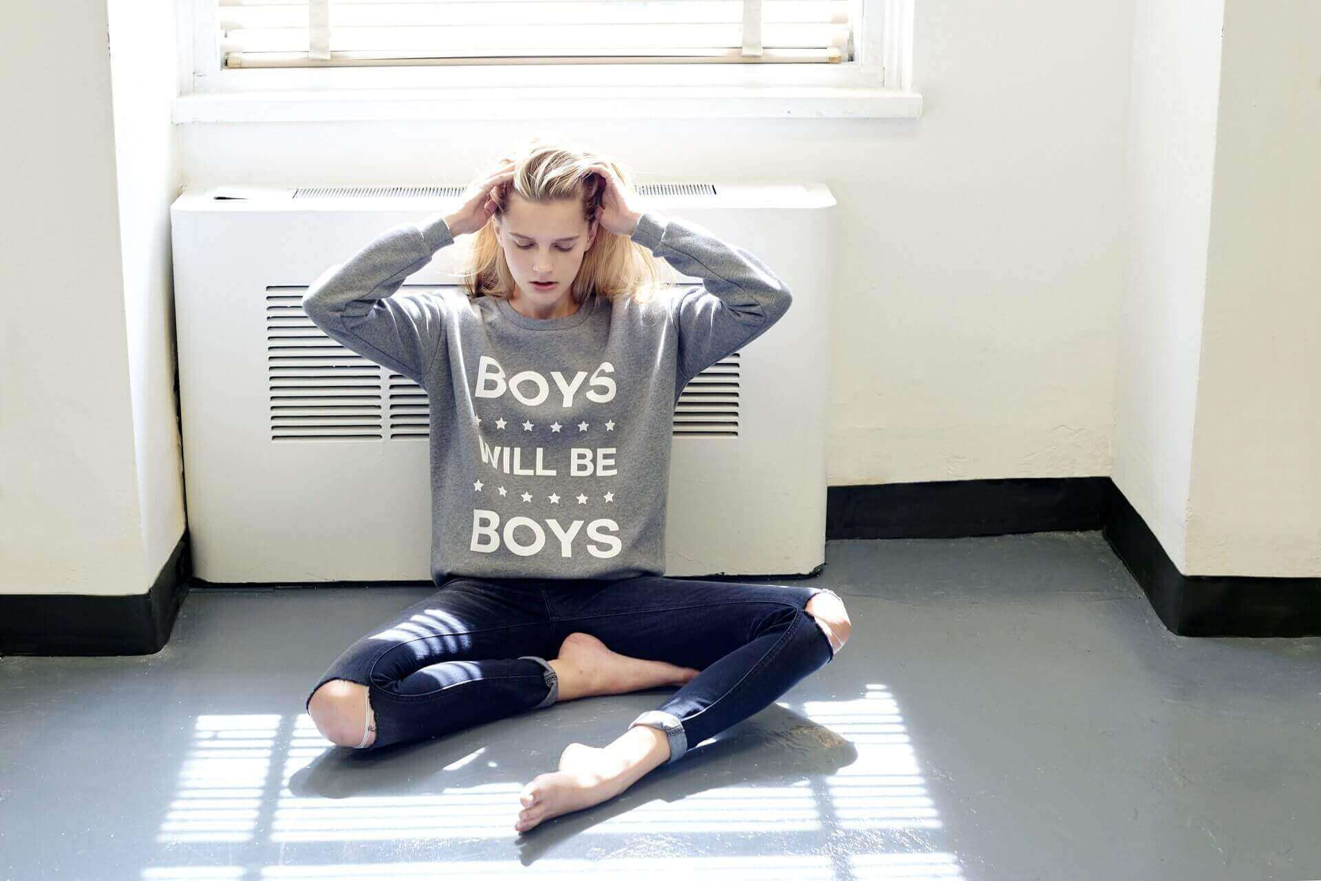 Gray 'Boys Will Be Boys' sweatshirt