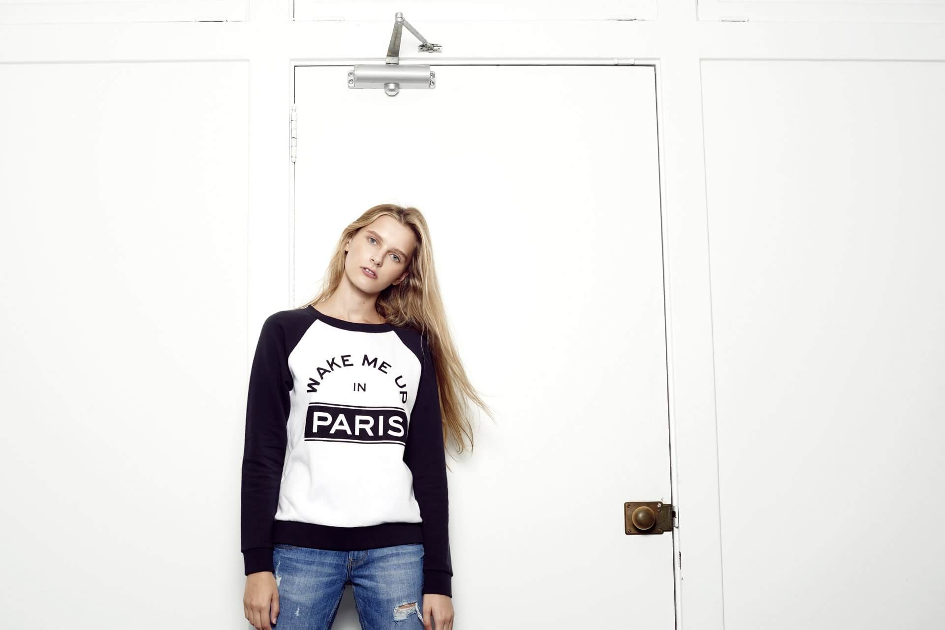 Navy & white 'Wake Me Up in Paris' sweatshirt