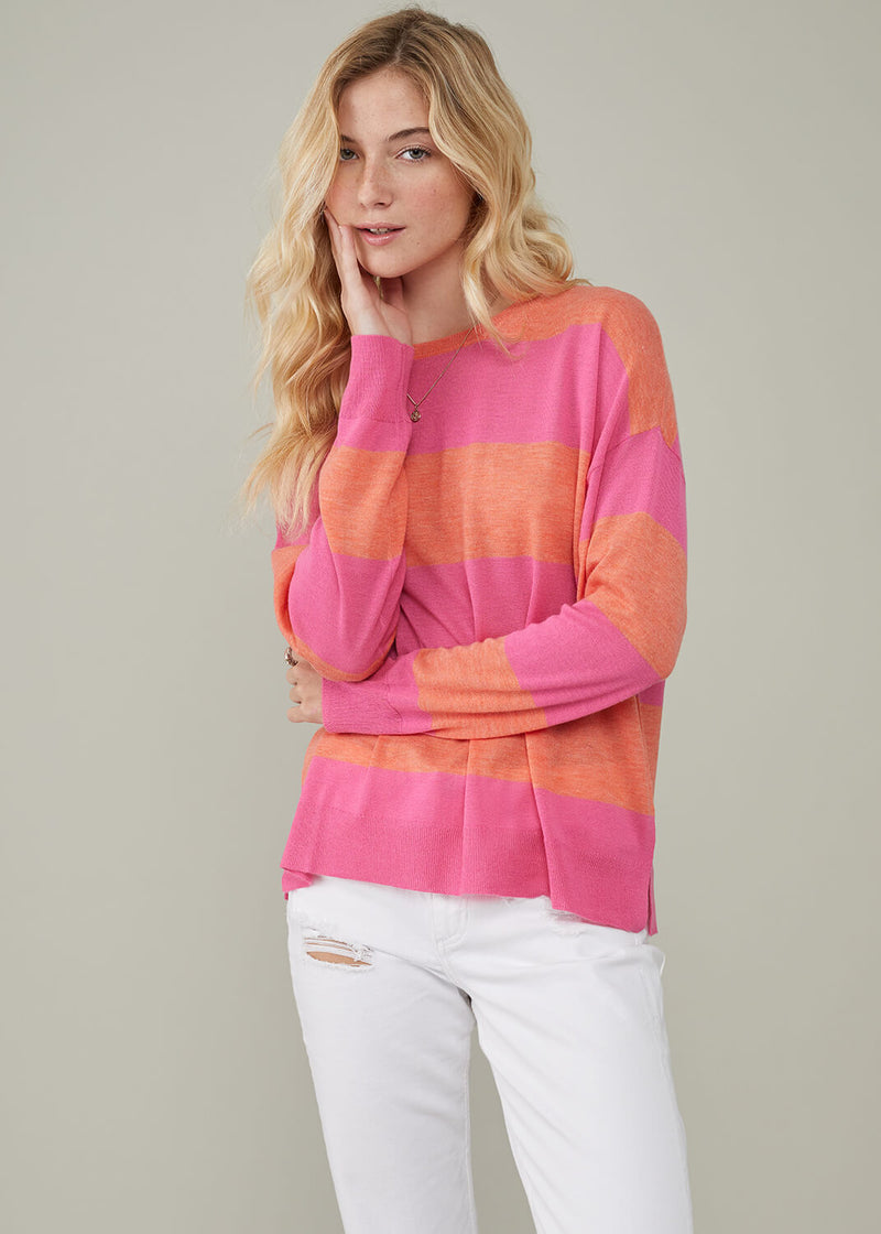 Women's sweater 100% Merino wool with stripes orange and pink