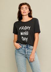 Friday Wine Day black t-shirt