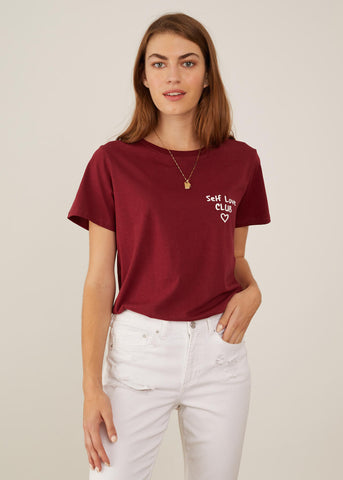 Jane - Boy Tee - Self Love Club - Burgundy