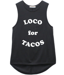 Whitney - Muscle Tee - Loco for Tacos - Black