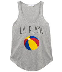 Bella - Racer Back Tank - La Playa - Heather Grey