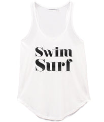 Bella - Racer Back Tank - Swim Surf - White