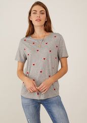 Lola - Loose Tee - Mini Hearts - Gray