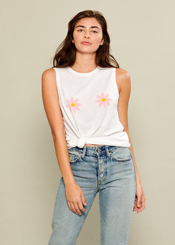 Whitney - Muscle Tee - Daisies - White