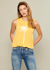 Whitney - Muscle Tee - Palm - Yellow