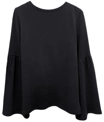 Christy - Bell Sleeve Sweatshirt - Smoke Black