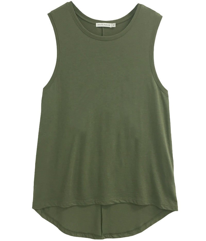 Whitney - Blank Muscle Tee - Army Green
