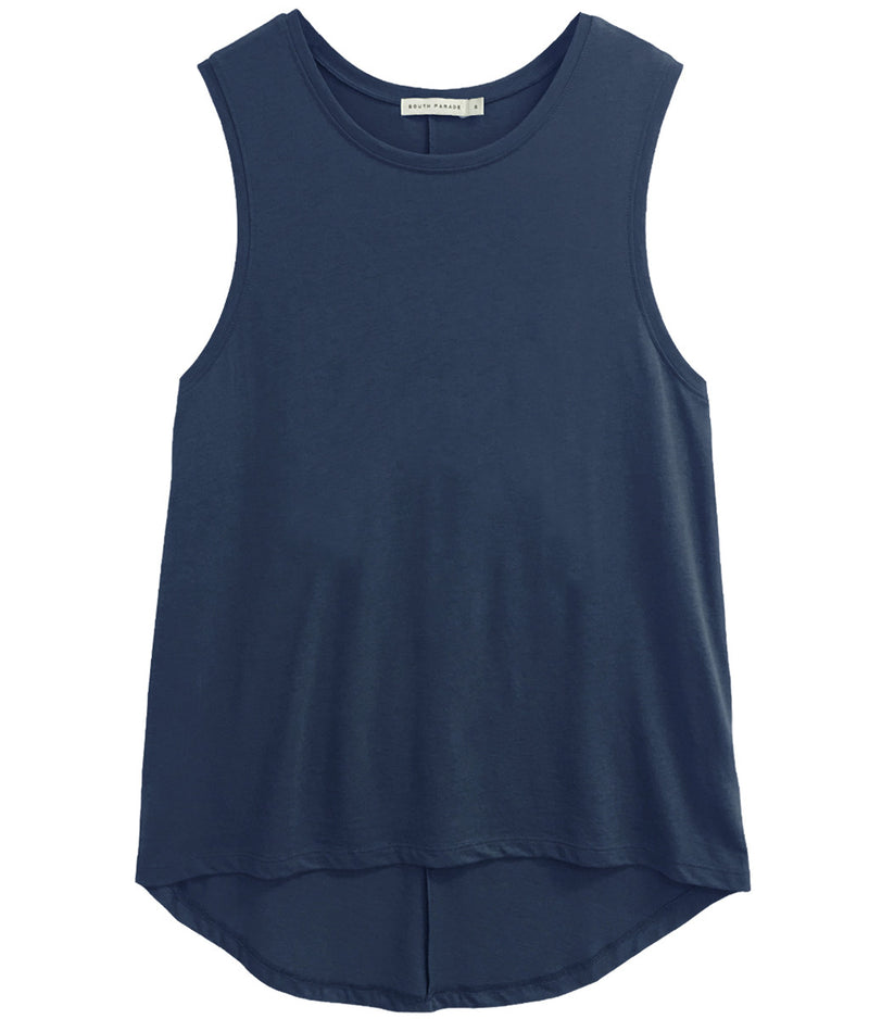 Whitney - Blank Muscle Tee - Navy Blue