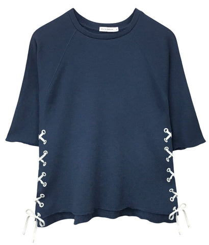 Julie - Short Sleeve Sweatshirt - Side Lace up