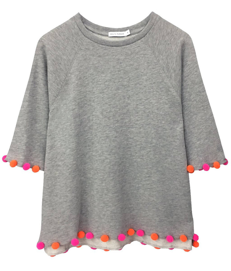 Julie - Short Sleeve Sweatshirt - Pom Pom - Heather Grey