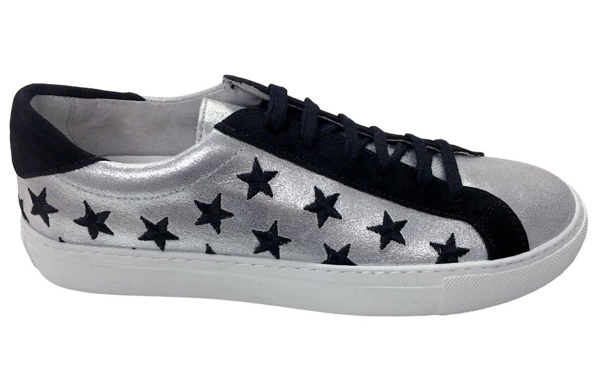 Stars - Lace up Sneaker - Black Silver