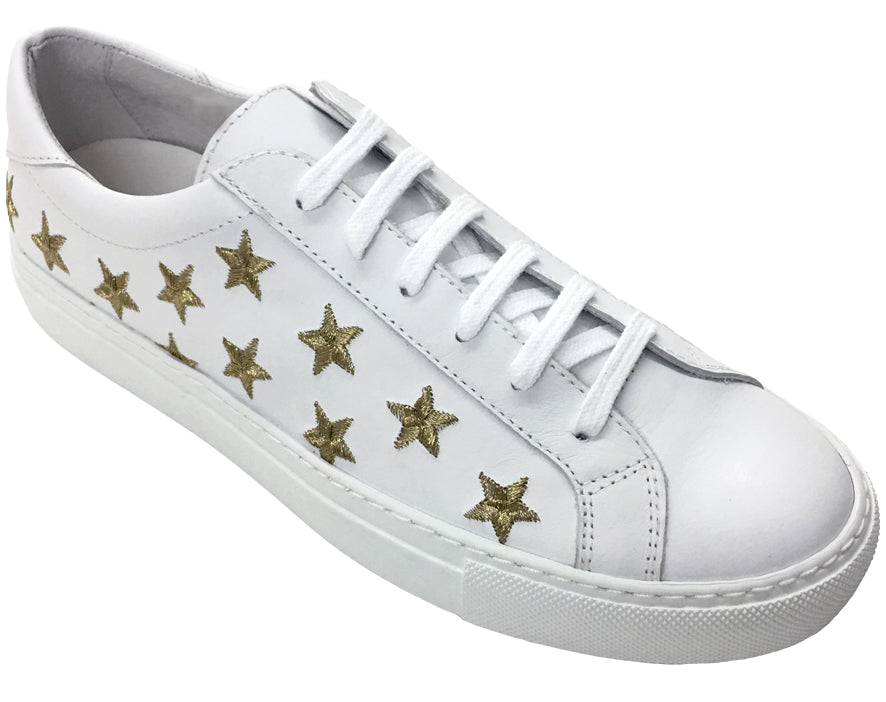 Stars - Lace up Sneaker - Gold White