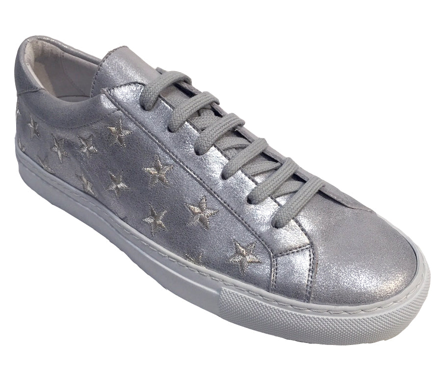 Stars - Lace up Sneaker - Silver
