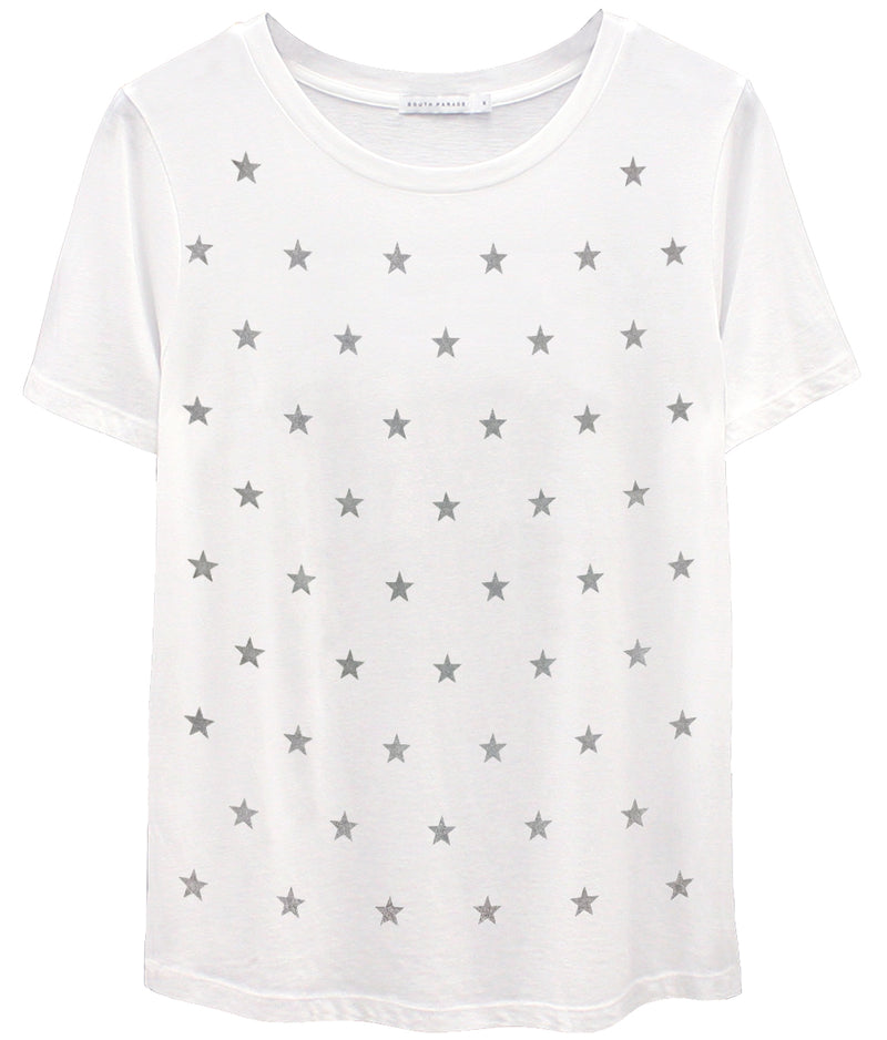 Lola - Loose Tee - Mini Stars - White/Grey Stars