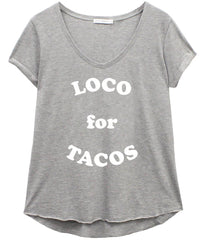 Valerie - V-neck Tee - Loco for Tacos - Heather Grey