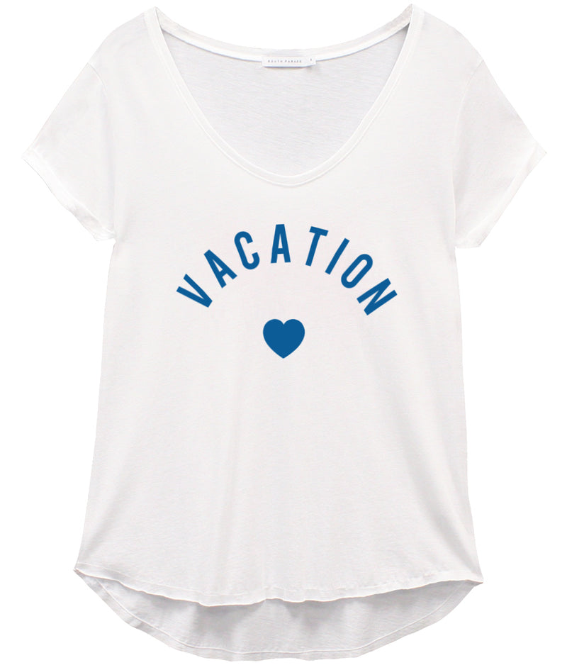 Valerie - V-neck Tee - Vacation - White/Blue