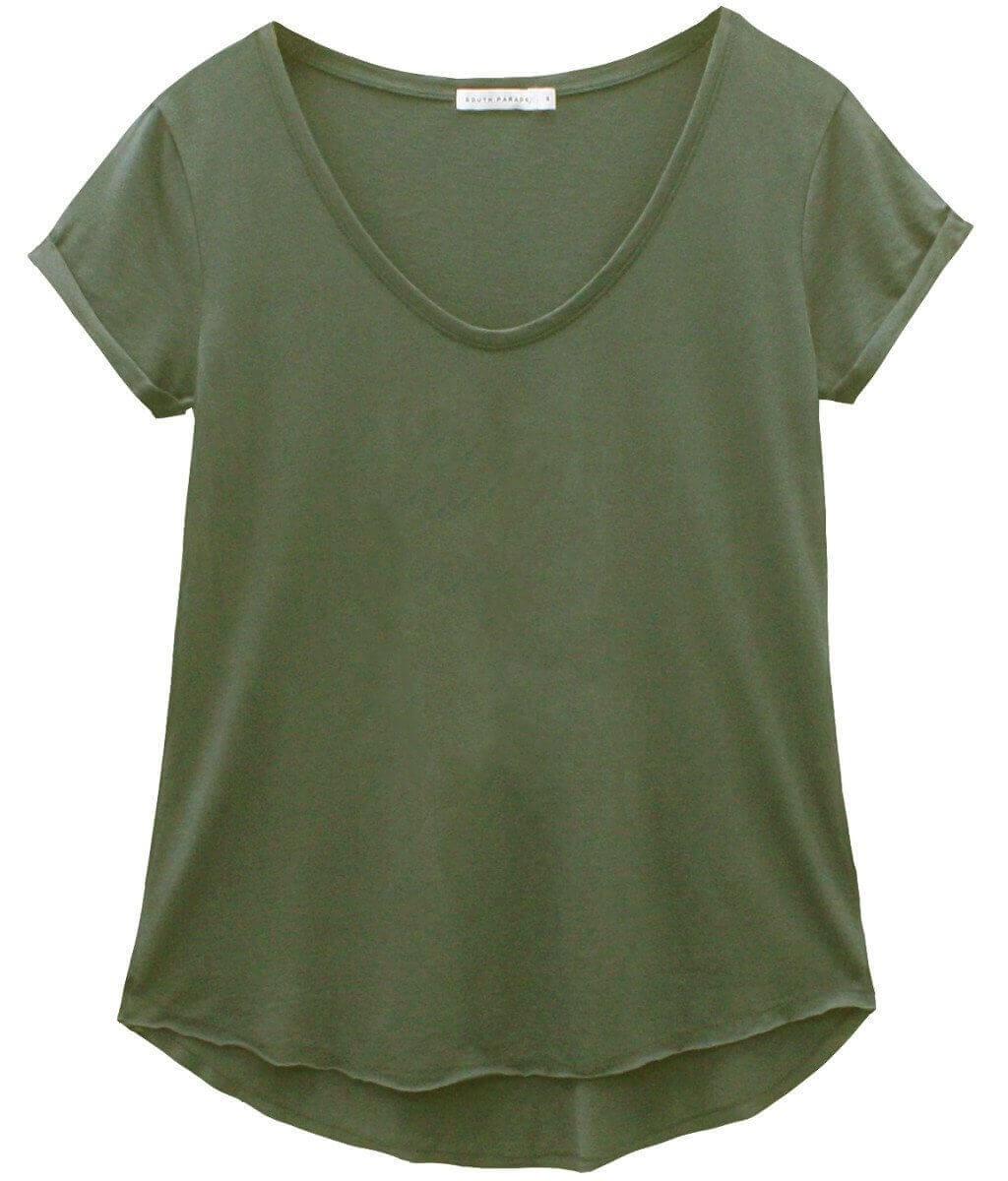 Valerie - Basic V-neck Tee - Army Green