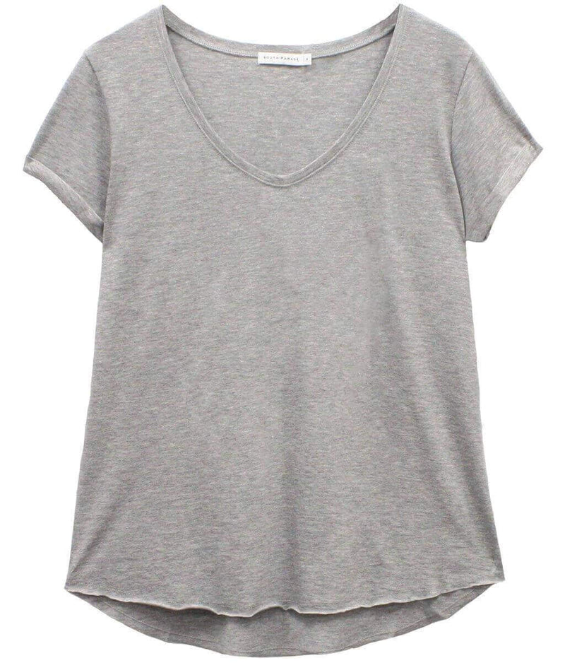 Valerie - Basic V-neck Tee - Heather Gray