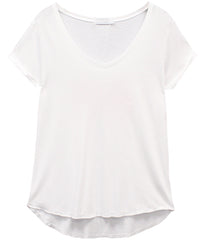 Valerie - Basic V-neck Tee - White