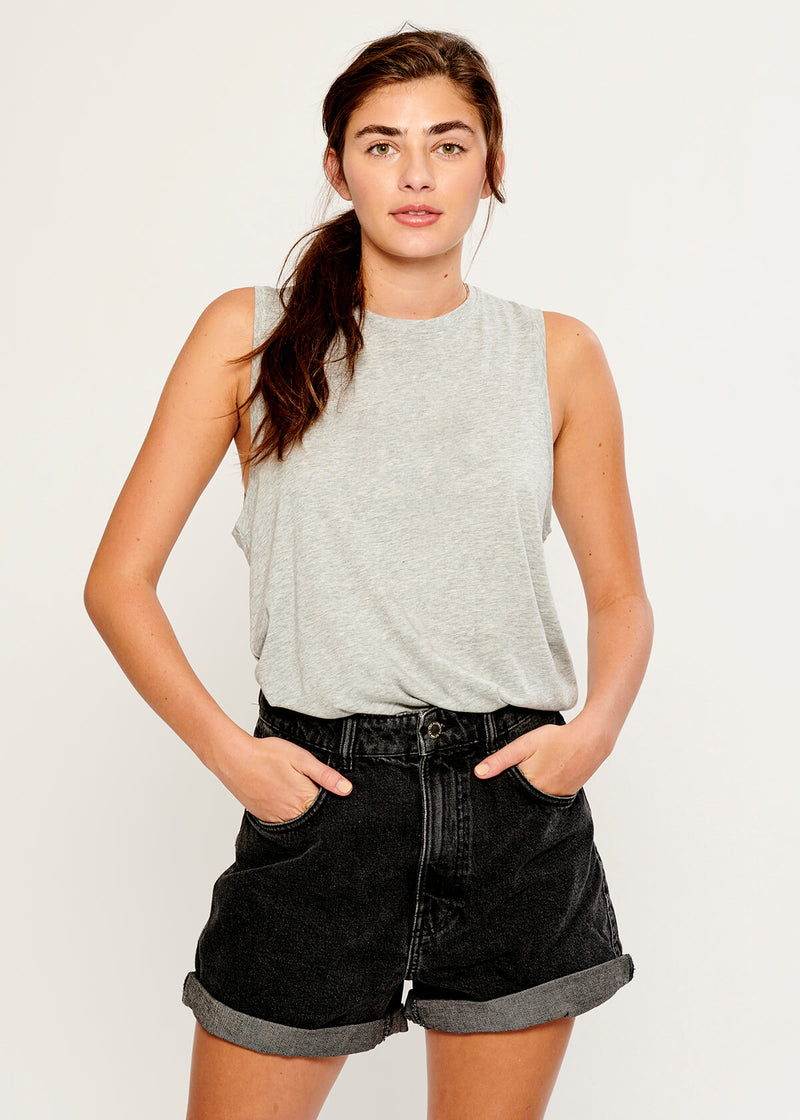 pima cotton tops heather grey