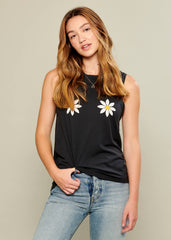 Whitney - Muscle Tee - Daisies - Black