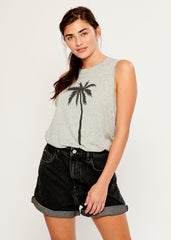 Whitney - Muscle Tee - Palm Tree - Gray