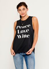 Whitney - Muscle Tee - Peace Love Wine - Black
