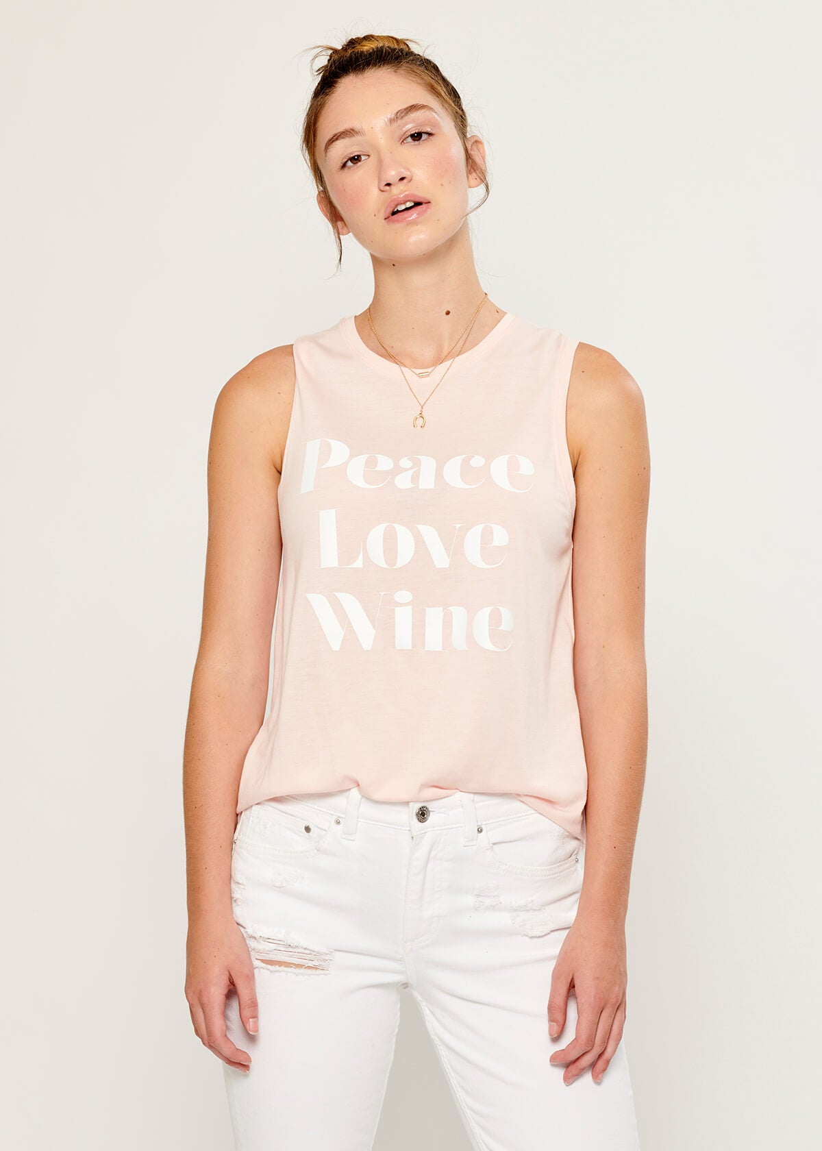 Whitney - Muscle Tee - Peace Love Wine - Pink
