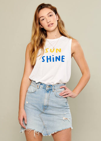 Whitney - Muscle Tee - Sunshine - White